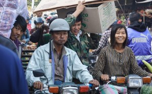 56. Mandalay market area - traffic stop